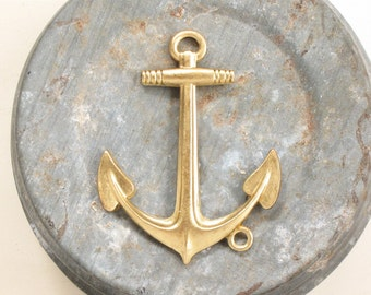 Large solid brass boat ANCHOR jewelry pendant . 44mm x 33mm (FF31). Please read description