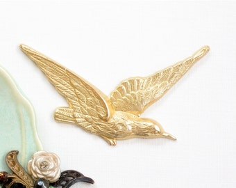 1 Large brass HUMMINGBIRD bird jewelry embellishment 62mm x 34mm (FF36).