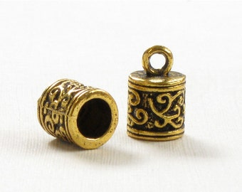 12 gold ornate jewelry End Caps for leather cord. Large 5.9mm inside diameter (EC11ag)