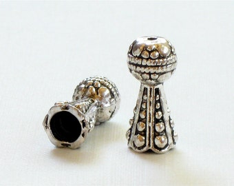 12 silver Bali style jewelry Bead Caps . Ornate and unique . 16mm x 7mm (EC13as)