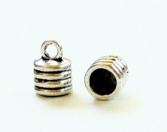 12 large silver jewelry End Cap beads with loop for leather.  6.8mm inside diameter (EC7as)