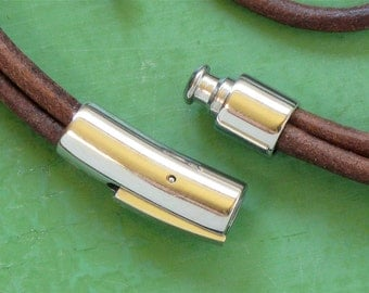 2 Stainless Steel end cap clasp for leather jewelry. 6mm inside diameter