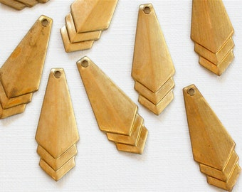 12 CHEVRON geometric jewelry charms or earring drops 9mm x 24mm (ST69)