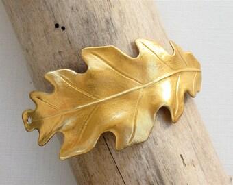 10 gold Oak Leaf jewelry CUFF Bracelet piece 65mm x 29mm (ST3a)