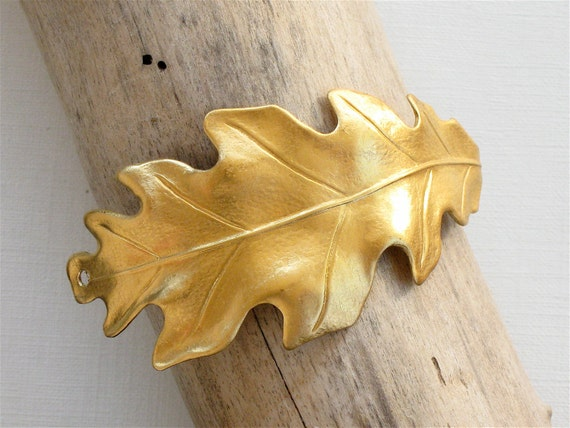 2 gold Oak Leaf jewelry CUFF Bracelet piece 65mm x 29mm (ST3a)