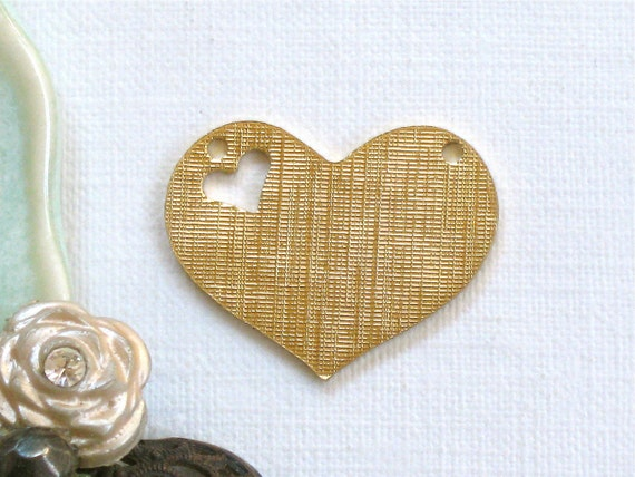 12 gold HEART jewelry pendant with texture. 16mm x 21mm (ST15). Please read description