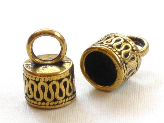 4 large End Cap beads. ornate gold colored with loop for 7mm leather (EC10ag)
