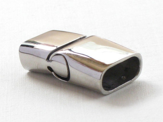1 Stainless Steel CLASP end cap for leather jewelry. Slide magnetic. 6mm x 12mm inside diameter