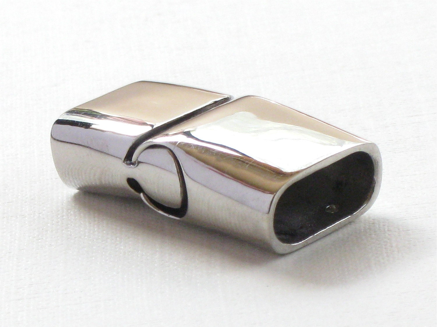 Stainless steel clasp end cap for leather jewelry slide