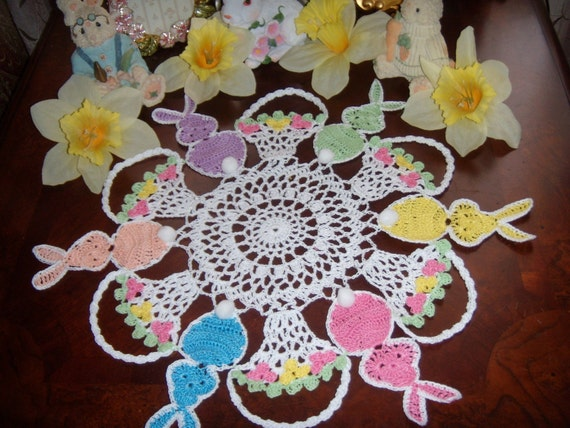 Peter cotton tail, hand crochet easter doily