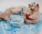 Polar Bears Sculpture, Pottery Sculpture,  Artic Picnic Pottery Sculpture, Ceramic Whimiscal Bears, Home Decor Sculpture, Ceramic Bears