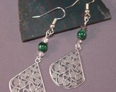 FREE DOMESTIC SHIPPING - Malachite, Swarovski Crystals, Antiqued Silver Earrings 124767