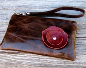 NEW- Leather Wristlet with detachable strap - Deep Red Poppy on Distressed Brown