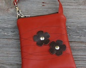 LAST ONE - Leather iPhone or Gadget Case Wristlet - Chocolate Cherry Blooms on Burnt Orange