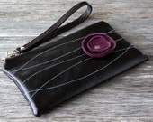 Limited Availability - Leather Wristlet Wallet with detachable strap - Purple Poppy on Dark Chocolate