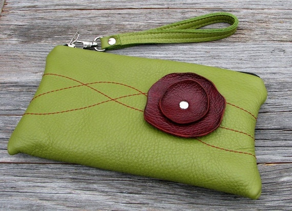Leather Wristlet Wallet with detachable strap - Burgundy Poppy on Green Grass