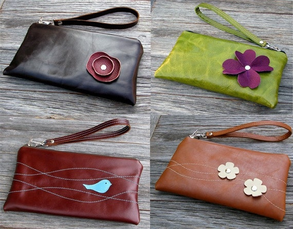 Design Your Own - Leather Wristlet Wallet with detachable strap