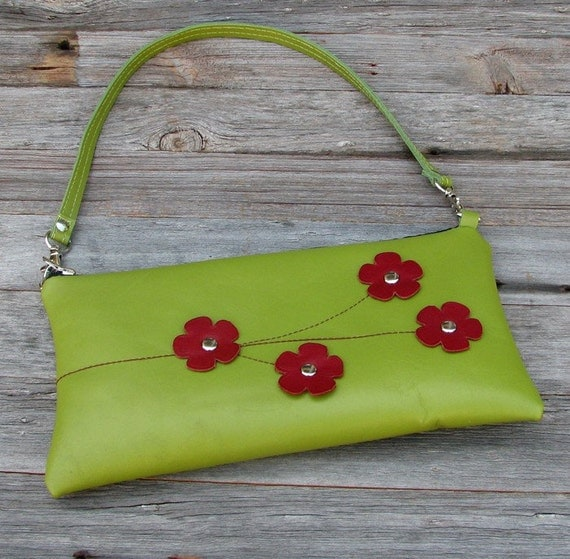 LAST ONE - Leather Convertible Shoulder Clutch - Red Cherry Blooms on Apple Green