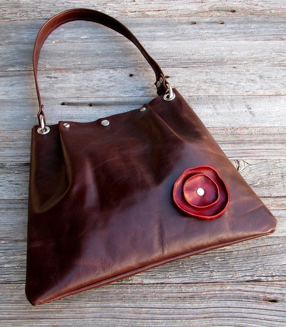 LAST ONE - Medium Leather Pleated Tote - Deep Red Poppy on Redwood Brown