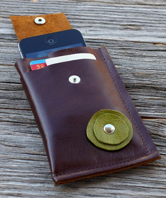 SUMMER SALE - Leather iPhone Sleeve Case with Pockets  - Green Bloom on Distressed Redwood
