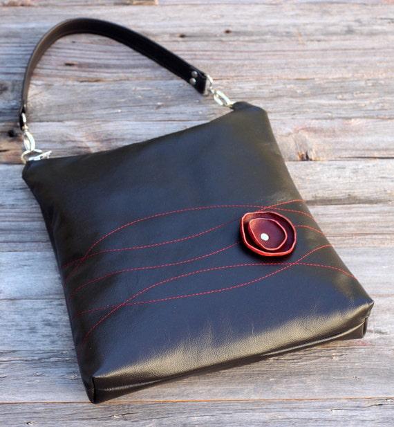 SHOP CLOSING - Last One - Leather Handbag - Shoulder Sling - Burgundy Poppy and Stitching on Deep Espresso