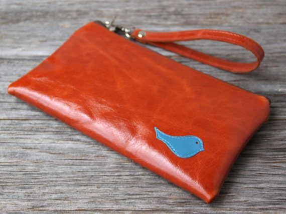 Leather Wristlet Wallet with detachable strap - Deep Blue Bird on Distressed Orange Spice