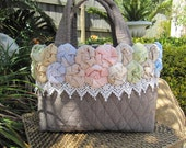 On hold for Shagre ------- SALE  -  Pastel Flowers and Lace hand quilted Handbag. Totally HAND STITCHED.