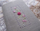 Travel Diary Journal - Handstitched embroidered linen
