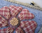 Clutch purse - Grey wool with appliqued flower
