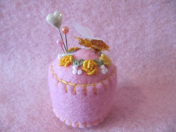 Pincushion - felt - Baby Pink and roses