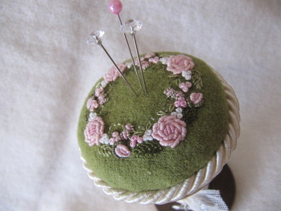 """Pincushion - Pink Roses on a 4"""" vintage wooden silk spool"""