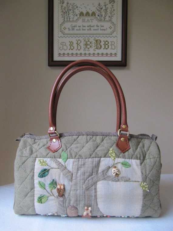 Boston Bag Handbag, OOAK Forest Animals and Birds - hand quilted