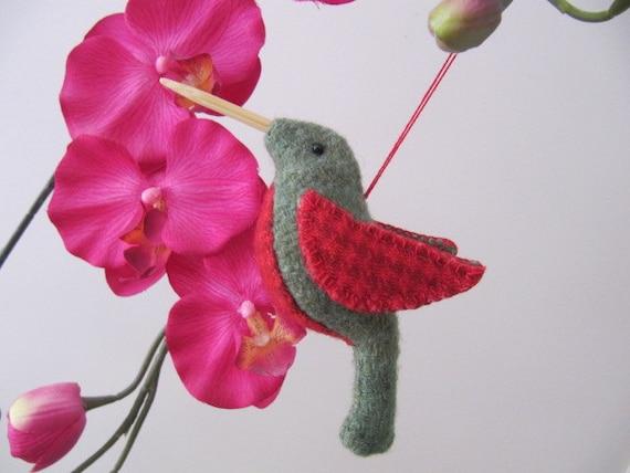 Wool felt - Hummingbird ornament - pincushion - mobile