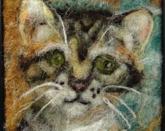 "040 ""Miss Kitty"" Thyme Tile Needle Felting Pattern Kit"