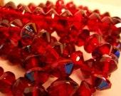 1 strand (aproc 25beads) ruby ravoli beads