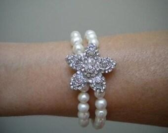 Bridal Starfish Bracelet, Crystal Starfish, Freshwater Pearl bracelet, 2 strand Bracelet, Tara, PB016