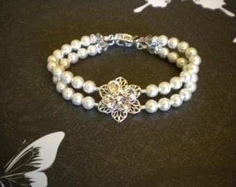 2 Strand Pearl Bracelet 6mm Swarovski Pearls bridal jewelry bridesmaid bracelet moh wedding 2 row bracelet ivory pearls  Michelle