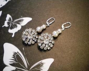 Bridal Pearl earrings, rhinestone Earrings, Bridal earrings, Weddings, Christine