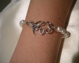 Grad Gift Weddings Accessories Bridal Pearl Bracelet silver bracelet, Love bracelet, bridesmaid gift