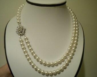 bridal pearl necklace vintage wedding necklace mother of the bride bridesmaid - marie