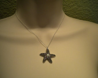 Starfish necklace, Bridal pearl necklace, Marcasite Starfish, Bridesmaids Necklace - Destiny