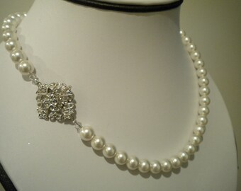 Bridal Pearl necklace, Vintage Style, rhinestone and Pearl necklace, Bridal Necklace Robyn