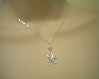 Bridemaid jewelry, Starfish necklace Pearl necklace, Necklace ONLY - Destination