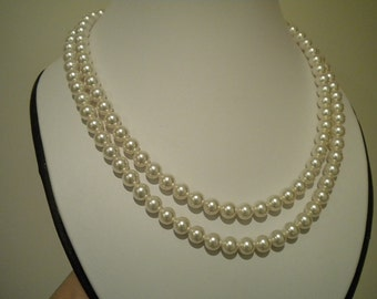 Pearl Wedding necklace Bridal Pearl necklace vintage style necklace 2 strand pearl necklace, TARRAH PN003
