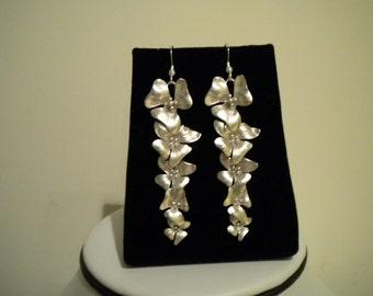 Orchid Earrings, Flower, long dangle, Bridal Bridesmaid Cascading Silver Earrings