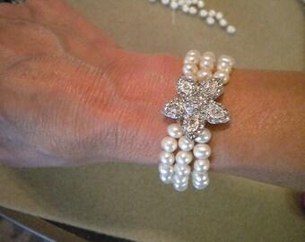 Starfish bracelet Weddings Bridal Pearl Rhinestone Bracelet 3 Strand Starfish Beach Tara III