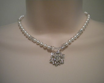 Bridal Pearl Necklace, Bridesmaid necklace, Rhinestone Bridal Necklace, Missy, PN063