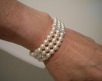 Wedding Bracelet Swarovski Pearl rhinestone beads Bridal Bracelet Wedding jewelry Wedding Accessory Pearl Bracelet, Jessie PB007