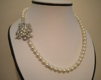 Bridal Pearl Necklace, Rhinestone and Pearl Necklace, Vintage Style Bridal Necklace, Wedding Jewelry AMY