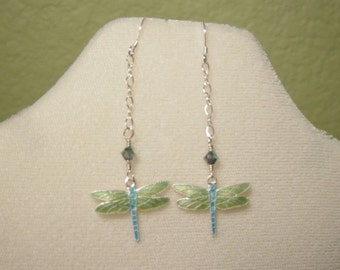 Dangling Blue and Green Dragon Fly Cloisonne Earrings
